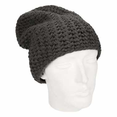 Basis wintermuts beanie antraciet