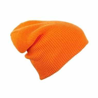 Basis wintermuts lange beanie oranje voor dames