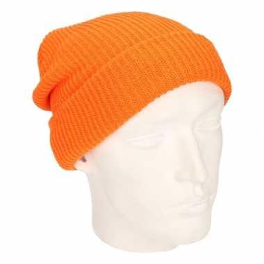 Basis wintermuts lange beanie oranje voor heren