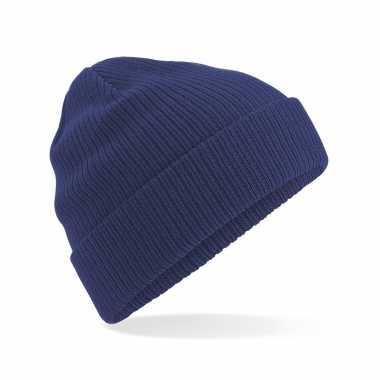 Commando beanie organic wintermuts in het donkerblauw