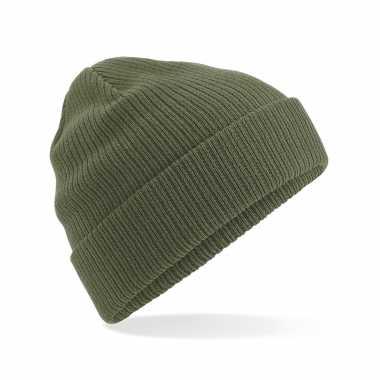 Commando beanie organic wintermuts in het olijf groen