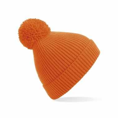 Gebreide wintermuts met pom pom oranje