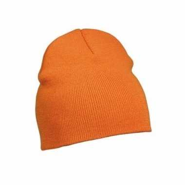 Gebreide wintermutsen oranje voor dames