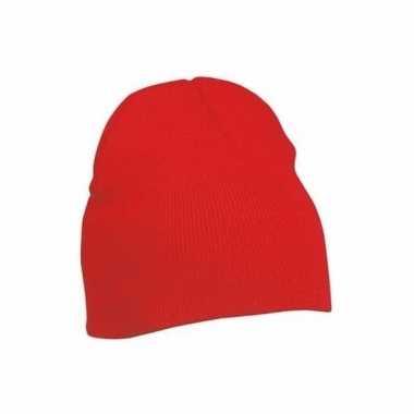 Gebreide wintermutsen rood voor dames