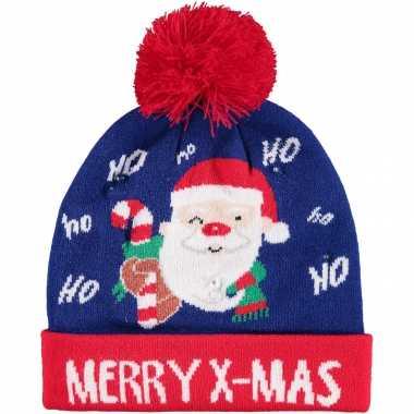 Kerstmis wintermutsen merry x mas met licht voor jongens en meisjes