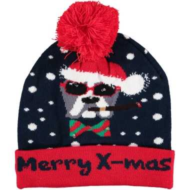 Kerstmis wintermutsen merry x mas met licht