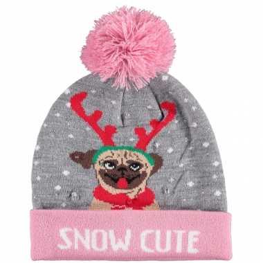 Kerstmis wintermutsen snow cutie met licht voor meisjes