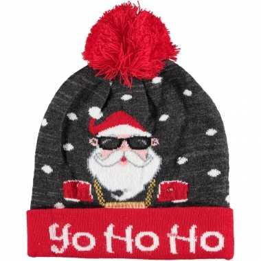 Kerstmis wintermutsen yo ho ho met licht