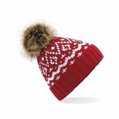 Luxe wintermuts met pom pom rood met wit