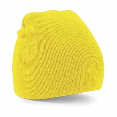 Pull on beanie wintermuts in het geel
