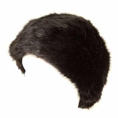 Russische wintermuts zwart met nepbont voor volwassenen