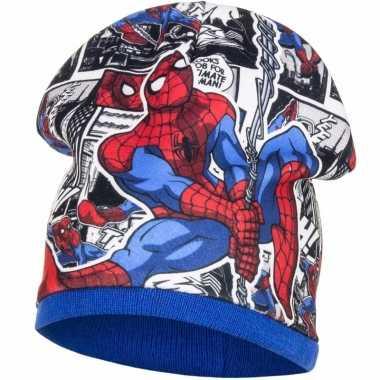 Spiderman fleece wintermuts blauw voor jongens