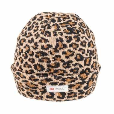Warme wintermuts met bruine luipaard print voor dames
