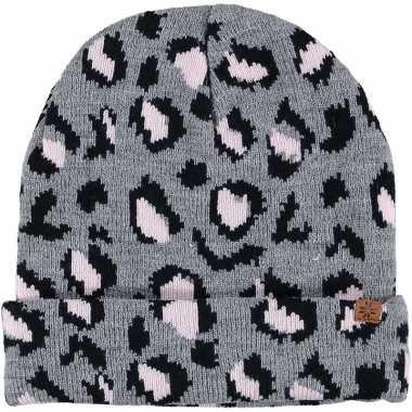 Warme wintermuts met grijze luipaard print voor meisjes