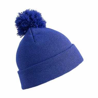 Wintermuts met pom pom kobalt blauw