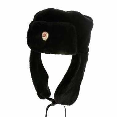 Wintermuts met zijflappen en russisch logo zwart voor volwassenen