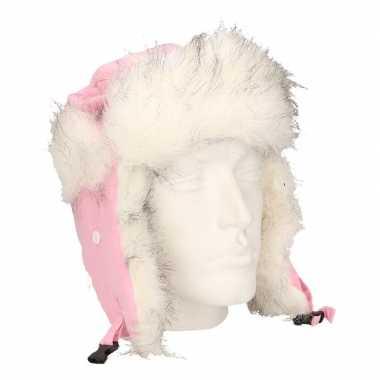 Wintermuts met zijflappen roze/wit