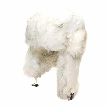 Wintermuts met zijflappen wit voor dames