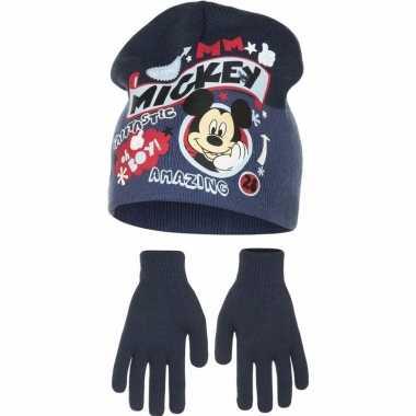 Winterset mickey mouse blauw voor jongens