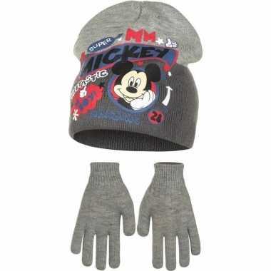Winterset mickey mouse grijs voor jongens