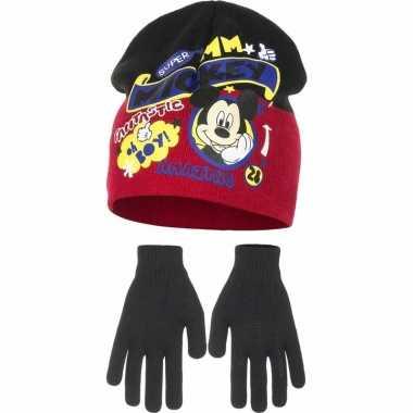 Winterset mickey mouse rood voor jongens