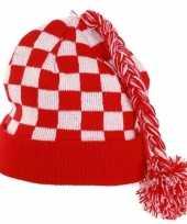 Carnaval wintermuts rood wit gebreid