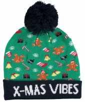 Kerstmis wintermutsen christmas vibes met licht voor jongens en meisjes