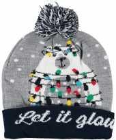 Kerstmis wintermutsen let it glow met licht