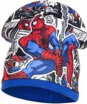 Spiderman fleece wintermuts blauw voor jongens
