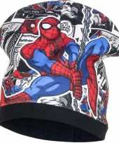 Spiderman fleece wintermuts zwart voor jongens