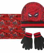 Spiderman wintermuts handschoenen en sjaal rood zwart