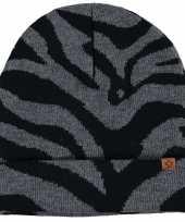 Warme wintermuts met antraciet zebra print voor kinderen