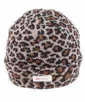 Warme wintermuts met grijze luipaard print voor dames