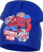 Wintermuts spiderman blauw voor jongens